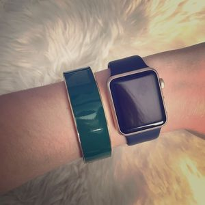 Deep Green J Crew Wide Bangle Bracelet